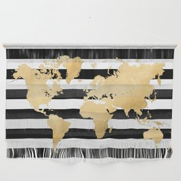 Gold world map black and white stripes Wall Hanging