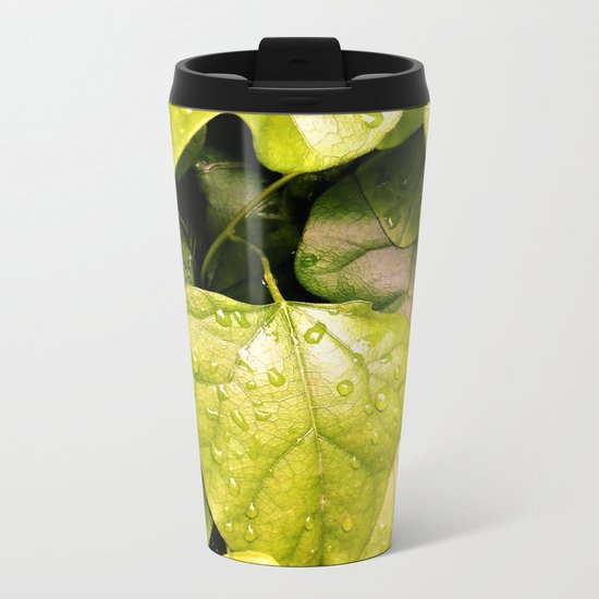 Green Vines in the Morning Dew Metal Travel Mug