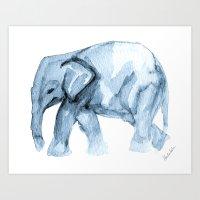 Elephant Sketch in Blue Art Print