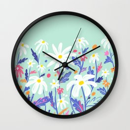 Flower daisies in mint Wall Clock