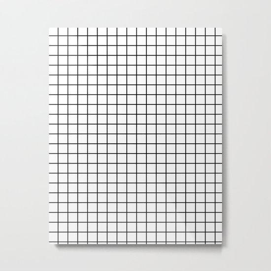 Emmy -- Black and White Grid, black and white, grid, monochrome, minimal grid design cell phone case Metal Print