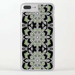 Mandala: Black White Green Flower Clear iPhone Case
