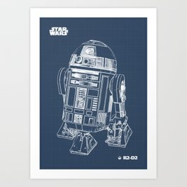 R2 D2 Blueprint Art Print