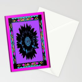 Black Night Shade Death Flower Purple Abstract Stationery Cards