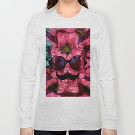vintage old skull portrait with red and blue flower pattern abstract background Long Sleeve T-shirt