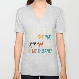 Kick Boxing is my theraphy - Martial Arts Unisex V-Neck