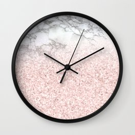She Sparkles - Pastel Pink Glitter Rose Gold Marble Wall Clock