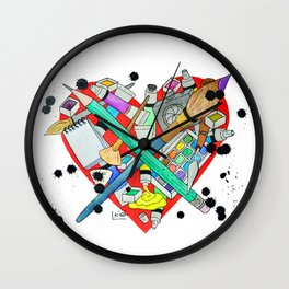watercolor art materials Wall Clock