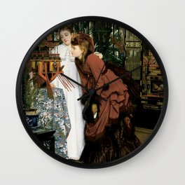 Young Women looking at Japanese Articles - Vintage Victorian Retro Fine Art Oil Painting Wall Clock