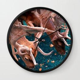Deers, Breakfast in the grass Wall Clock