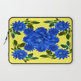 Decorative Blue-yellow Blue Dahlia-Leaves Art Abstract Laptop Sleeve