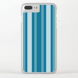Dark Cerulean Victorian Lady Stripe Clear iPhone Case