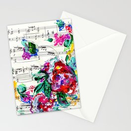 Musical Beauty - Floral Abstract - Piano Notes Stationery Cards