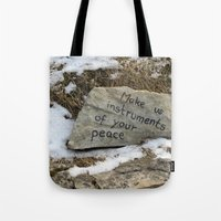 poland Tote Bags featuring Peace in Poland by Anything et Everything by Nina L.