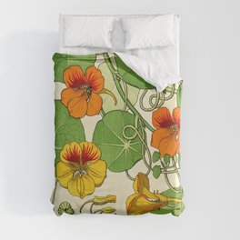 French botanical flower plate - Maurice Verneuil - Capucine Duvet Cover