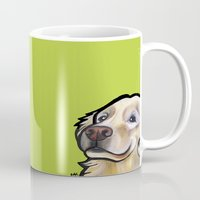 golden retriever Mugs featuring George the golden retriever by Pawblo Picasso