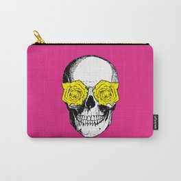 Skull and Roses | Pink and Yellow Carry-All Pouch