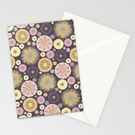 Colourful Flower Medley on Dark Purple Stationery Cards