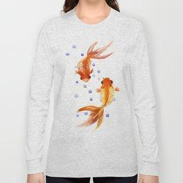 Goldfish, two fish, Koi Asian Style watercolor art, feng shui Long Sleeve T-shirt