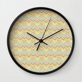 Modern geometrical pink yellow green chevron zigzag pattern Wall Clock