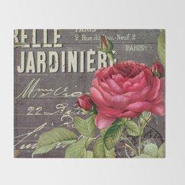 Vintage red rose #2 Throw Blanket