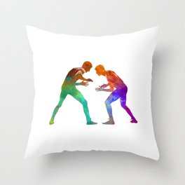 Wrestlers wrestling men 01 in watercolor Throw Pillow