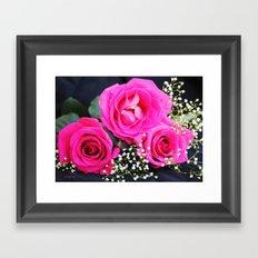 Pink Roses On Black I Framed Art Print