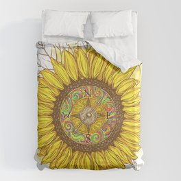 Sunflower Compass Duvet Cover
