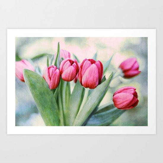 Twilight Tulips Art Print