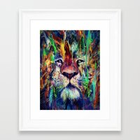 lion Framed Art Prints featuring Lion by nicebleed
