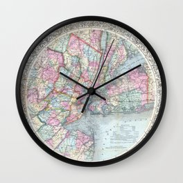 Antique New York City Map Wall Clock