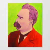 nietzsche Canvas Prints featuring Colorful Nietzsche by TheMessianicManic