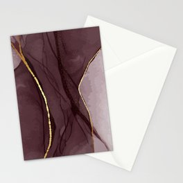 Alcohol ink red gold Stationery Cards
