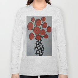 Abstract Red Poppies in a Black Vase Long Sleeve T-shirt