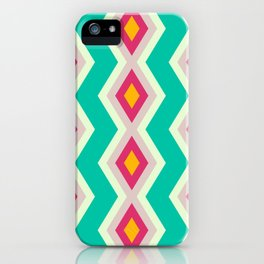Geometric triangles shapes pattern retro colors iPhone Case