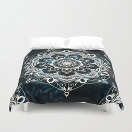 Glowing Spirit Mandala Blue White Duvet Cover