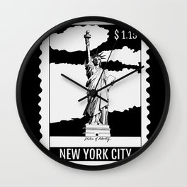 Statue of Liberty in New York City Stamp B&W Wall Clock