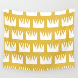 Mid Century Modern Flower Pattern Yellow Wall Tapestry