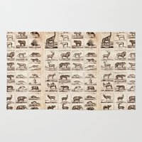 animals Area & Throw Rugs featuring Animals by Le petit Archiviste