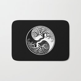 White and Black Tree of Life Yin Yang Bath Mat