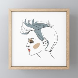 Woman with trendy haircut. Abstract face. Fashion illustration Framed Mini Art Print