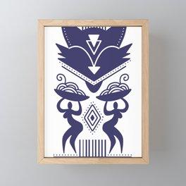 The Cat Goddess - Indigo Blue Abstract Modernist Framed Mini Art Print