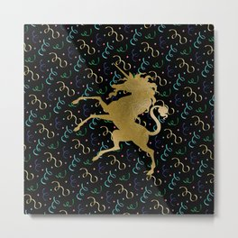 Golden Unicorn Metal Print