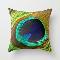 peacock feather Throw Pillows featuring peacock feather by mark ashkenazi