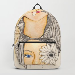 Woman with Gerbera flower Backpack