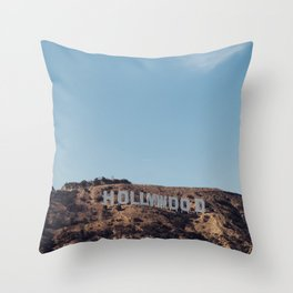 Vintage Retro Hollywood Sign Los Angeles California Colored Wall Art Print Throw Pillow