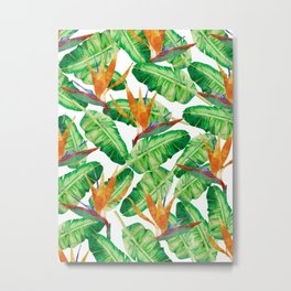 Tropical leaves and Strelitzia Metal Print