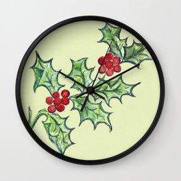 Holly Sprig (lite green) Wall Clock