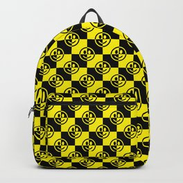 Yellow and Black Smiley Face Check Backpack