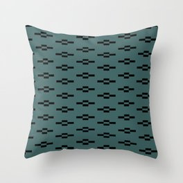 Southwestern Coyote Track Symbols in Evergreen + Black Throw Pillow